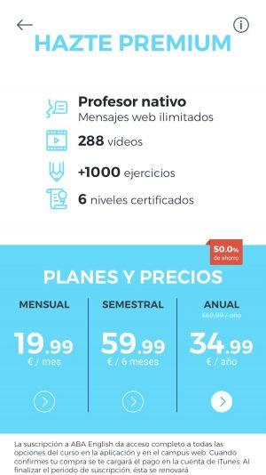 Planes y precios de ABA English