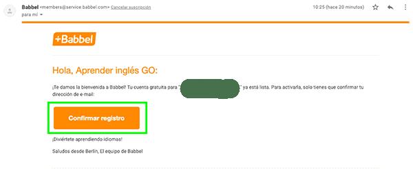 E-mail para completar el Babbel Login (registro)