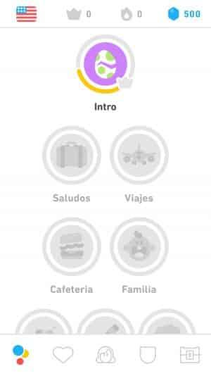Bloques de ejercicios en Duolingo