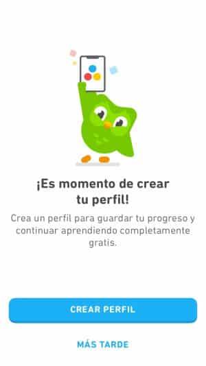 Crea tu perfil en Duolingo