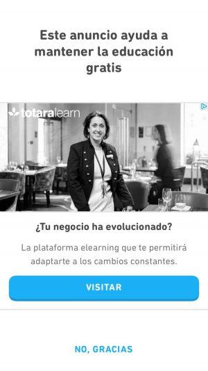 Anuncio en la versión gratis de Duolingo