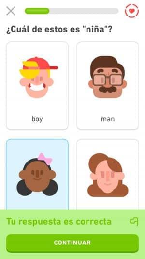Respuesta correcta en Duolingo