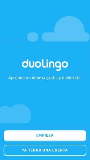 Inicio de la app de Duolingo