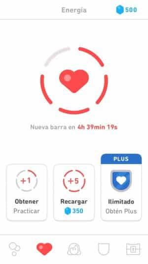 Recuperar la energía en Duolingo