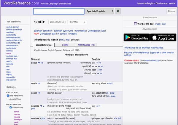 Ejemplo de traducción español-inglés en WordReference
